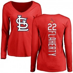 Women's Jack Flaherty St. Louis Cardinals Backer Slim Fit Long Sleeve T-Shirt - Red