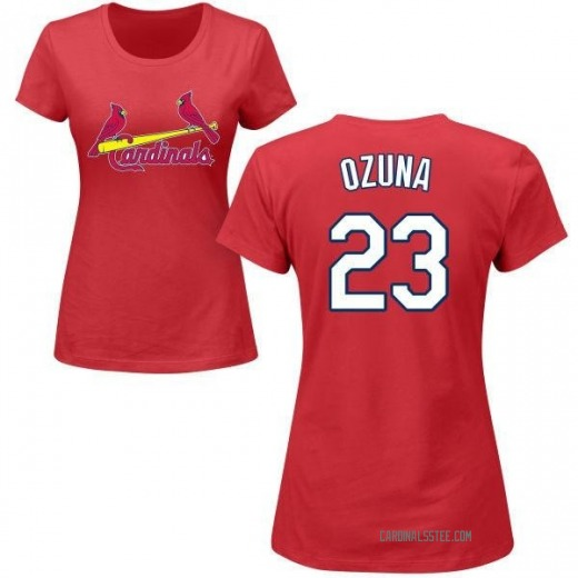 uk availability 04b8b a5496 Women's Marcell Ozuna St. Louis Cardinals Roster Name & Number T-Shirt - Red